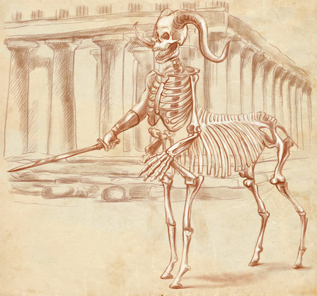 centaur: Illustration of a series of legendary animals and monsters (skeleton): CENTAUR. An hand drawn and painted full sized illustration (Original). Version: Drawing on old paper. Stock Photo