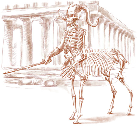 centaur: Illustration of a series of legendary animals and monsters (skeleton): CENTAUR. An hand drawn and painted full sized illustration (Original). Version: Drawing on white background.