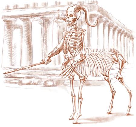 esoterismo: Ilustración de una serie de animales míticos y monstruos (esqueleto): CENTAURO. Una mano dibujado y pintado ilustración de tamaño completo (Original). Versión: Dibujo sobre fondo blanco. Foto de archivo