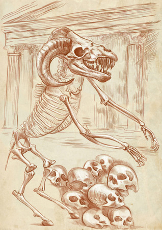 bestiary: Illustration of a series of legendary animals and monsters (skeleton): MINOTAUR. An hand drawn and painted full sized illustration (Original). Version: Drawing on old paper. Stock Photo