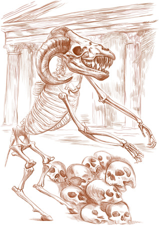 bestiary: Illustration of a series of legendary animals and monsters (skeleton): MINOTAUR. An hand drawn and painted full sized illustration (Original). Version: Drawing on white background. Stock Photo