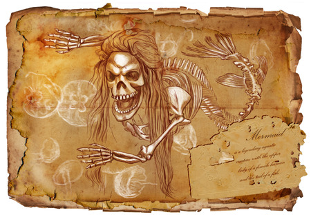 bestiary: Illustration of a series of legendary animals and monsters (skeleton): MERMAID. An hand drawn and painted full sized illustration (Original). Version: Drawing on old vintage paper with text. Background: slightly blurry, Lines: sharp. Stock Photo