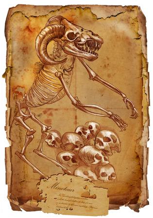 esoterismo: Ilustraci�n de una serie de animales m�ticos y monstruos (esqueleto): Minotauro. Una mano dibujado y pintado ilustraci�n de tama�o completo (Original). Versi�n: Dibujo sobre papel de �poca antigua con el texto. Antecedentes: un poco borrosa, L�neas: agudo. Foto de archivo