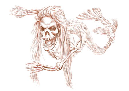 bestiary: Illustration of a series of legendary animals and monsters (skeleton): MERMAID. An hand drawn and painted full sized illustration (Original). Version: Drawing on white background.