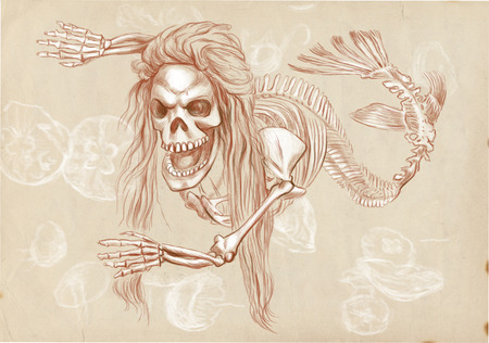 bestiary: Illustration of a series of legendary animals and monsters (skeleton): MERMAID. An hand drawn and painted full sized illustration (Original). Version: Drawing on old paper.