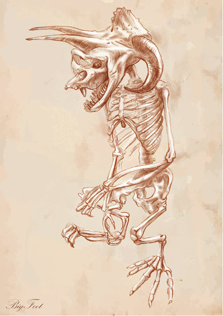 bestiary: An hand drawn vector illustration. Series of legendary animals and monsters (skeleton): BIGFOOT (Yeti). Drawing comprise at least three layers of lines, the colored background is isolated. Easy editable in layers and groups.