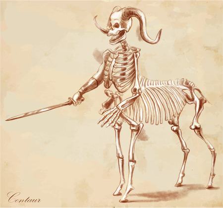 bestiary: An hand drawn vector illustration. Series of legendary animals and monsters (skeleton): CENTAUR. Drawings comprise at least three layers of lines, the colored background is isolated. Easy editable in layers and groups.