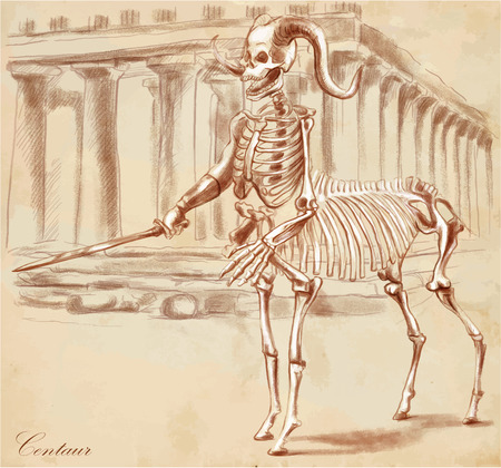 draft horse: An hand drawn vector illustration. Series of legendary animals and monsters (skeleton): CENTAUR. Drawings comprise at least three layers of lines, the colored background is isolated. Easy editable in layers and groups.