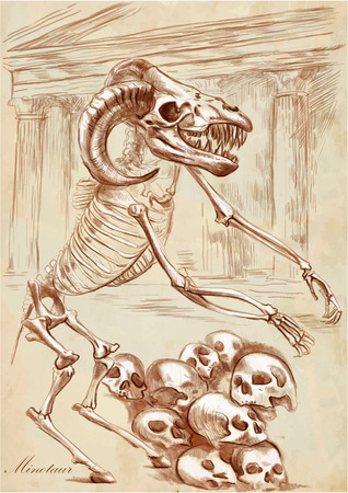 bestiary: An hand drawn vector illustration. Series of legendary animals and monsters (skeleton): MINOTAUR. Drawings comprise at least three layers of lines, the colored background is isolated. Easy editable in layers and groups.