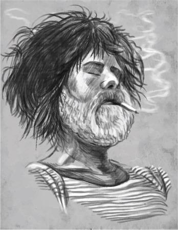 흡연자: An hand drawn vector illustration. Series of Smoking: Bearded smoker, probably Sailor. Drawing on grey. Two layers vector. 일러스트