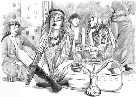 harem: An hand drawn vector illustration. Series of Smoking: Young woman smoking Hookah (Harem). Drawing comprise three layers. Drawing on white. Easy editable in layers and groups.