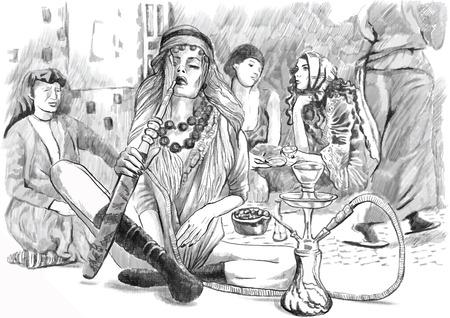 Une illustration tirée par la main. Série de fumer: Jeune femme narguilé (Harem). Dessin comprennent trois couches. Dessin sur blanc. Facile modifiable en couches et les groupes. Banque d'images - 36390598