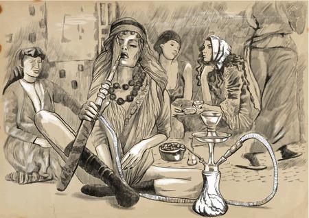 Une illustration tirée par la main. Série de fumer: Jeune femme narguilé (Harem). Dessin comprennent trois couches, le fond coloré est isolé (quatrième couche). Facile modifiable en couches et les groupes. Banque d'images - 36390599