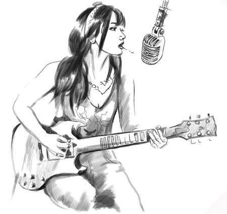 Una ilustración vectorial de dibujado a mano. Serie de fumar: Mujer joven que fuma el cigarrillo y tocar la guitarra. Dibujo comprenden tres capas. Dibujo en blanco. Fácil editable por capas y grupos. Ilustración de vector