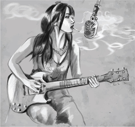 provoke: An hand drawn vector illustration. Series of Smoking: Young woman smoking cigarette and playing Guitar. Drawing comprise three layers of lines, the colored background is isolated (fourth layer). Easy editable in layers and groups. Illustration