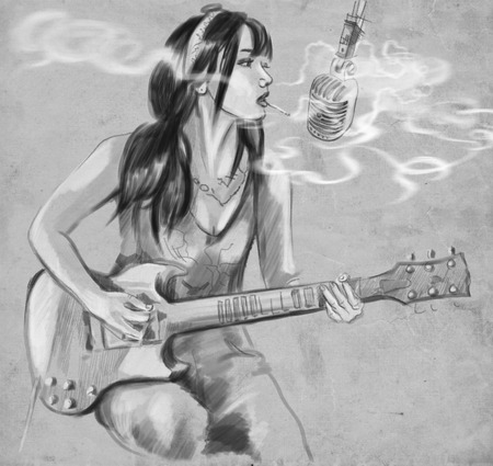 provoke: Illustration of a series Smoking: Young woman smoking cigarette and playing guitar. An hand drawn and painted full sized illustration (Original). Version: Hand drawing on grey background. Stock Photo