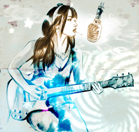 Illustration of a series Smoking: Young woman smoking cigarette and playing guitar. An hand drawn and painted full sized illustration (Original). Version: Grunge, Hand drawing. Stock Photo