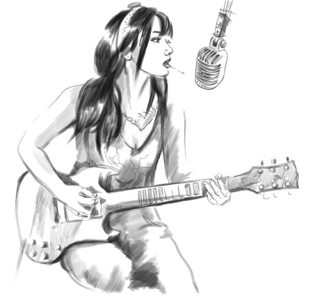 smoking cigarette: Illustration of a series Smoking: Young woman smoking cigarette and playing guitar. An hand drawn and painted full sized illustration (Original). Version: Hand drawing on white background. Stock Photo