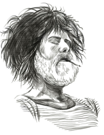 bearded man: Illustration of a series Smoking: Resting bearded man (Sailor). An hand drawn and painted full sized illustration (Original). Version: Hand drawing on white background. Stock Photo