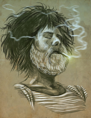 disheveled: Illustration of a series Smoking: Resting bearded man (Sailor). An hand drawn and painted full sized illustration (Original). Version: Vintage, Hand drawing.
