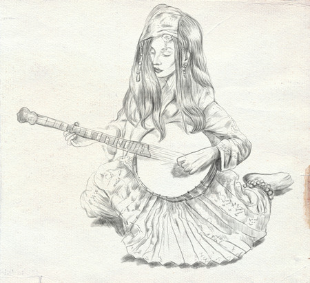 Theme: Music and Musicians. Banjo player - An pretty woman tenderly plays the banjo. An hand drawn illustration, full sized - original. Version: Freehand sketch on old paper.
