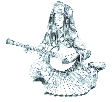 Theme: Music and Musicians. Banjo player - An pretty woman tenderly plays the banjo. An hand drawn illustration, full sized - original. Version: Freehand sketch on white.