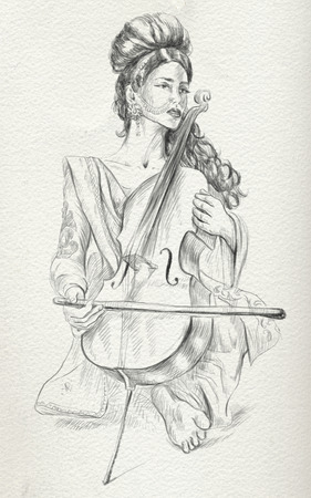 showbiz: Theme: Music and Musicians. Violoncello player - An pretty woman tenderly plays the cello. An hand drawn illustration, full sized - original. Version: Freehand sketch on old paper.