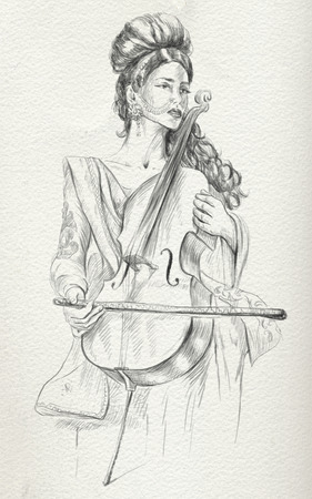 Theme: Music and Musicians. Violoncello player - An pretty woman tenderly plays the cello. An hand drawn illustration, full sized - original. Version: Freehand sketch on old paper.
