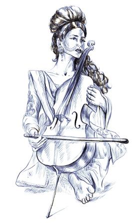 showbusiness: Theme: Music and Musicians. Violoncello player - An pretty woman tenderly plays the cello. An hand drawn illustration, full sized - original. Version: Freehand sketch on white background. Stock Photo