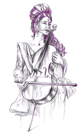 showbiz: Theme: Music and Musicians. Violoncello player - An pretty woman tenderly plays the cello. An hand drawn illustration, full sized - original. Version: Freehand sketch on white background. Stock Photo