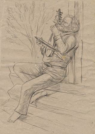 Theme: Music and Musicians. Gadulka player. An hand drawn illustration, full sized - original. Version: Freehand sketch on old paper. Stock Photo