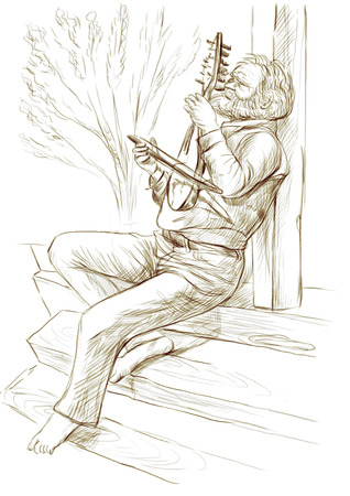Theme: Music and Musicians. Gadulka player. An hand drawn illustration, full sized - original. Version: Freehand sketch on white.
