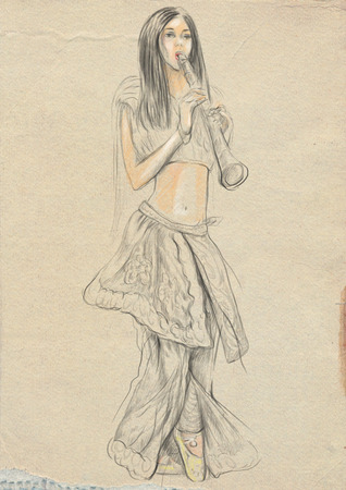 Theme: Music and Musicians. Clarinet player - an young woman plays clarinet . An hand drawn illustration, full sized - original. Version: Freehand sketch on old paper.