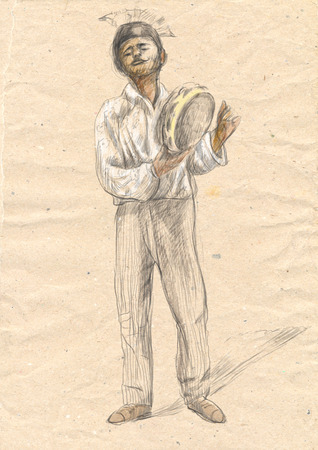 Theme: Music and Musicians. Tambourine player. An hand drawn illustration, full sized - original. Version: Freehand sketch on old paper. Stock Photo