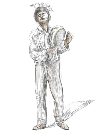 Theme: Music and Musicians. Tambourine player. An hand drawn illustration, full sized - original. Version: Freehand sketch on white.