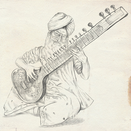 Theme: Music and Musicians. Tanpura player. An hand drawn illustration, full sized - original. Version: Freehand sketch on old paper.