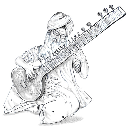 Theme: Music and Musicians. Tanpura player. An hand drawn illustration, full sized - original. Version: Freehand sketch on white. Stock Photo