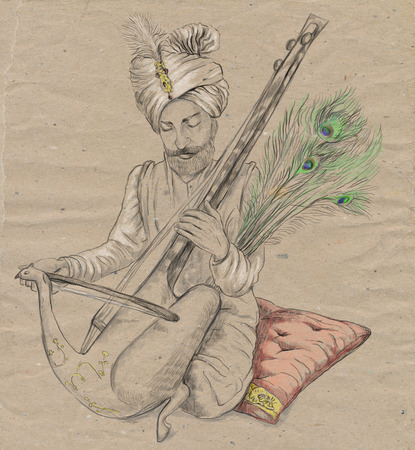 Theme: Music and Musicians. Taus player. An hand drawn illustration, full sized - original. Version: Freehand sketch on old paper.