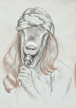 Theme: Music and Musicians. Goat Punk Singer. An hand drawn full sized illustration. Version: Freehand sketch on old paper. Stock Photo