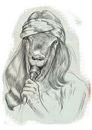 Theme: Music and Musicians. Goat Punk Singer. An hand drawn full sized illustration. Version: Freehand sketch on white.