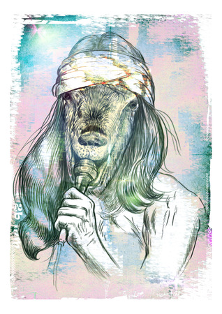 showbusiness: Theme: Music and Musicians. Goat Punk Singer. An hand drawn full sized illustration. Version: Freehand grunge sketch on colored paper.