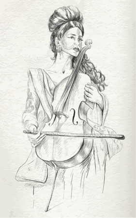 An hand drawn vector. Theme: Music and Musicians. VIOLONCELLO PLAYER - An pretty woman tenderly plays the cello. An hand drawn converted vector. Editable in layers and groups. The colored background is isolated. Illustration