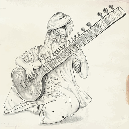 showbusiness: An hand drawn vector. Theme: Music and Musicians. TANPURA PLAYER - An Indian man plays the Tanpuri. An hand drawn converted vector. Editable in layers and groups. The colored background is isolated.
