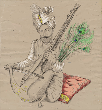 An hand drawn vector. Theme: Music and Musicians. TAUS PLAYER - An Indian Raja plays the Taus. An hand drawn converted vector. Editable in layers and groups. The colored background is isolated.