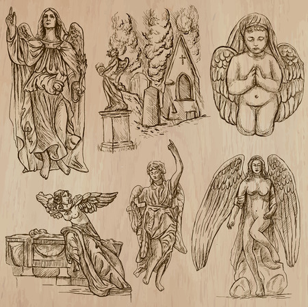 gabriel: ANGELS. Collection of an hand drawn illustrations (vectors - pack no.1). Each drawing comprises of two or three layers of outlines, the colored background is isolated.