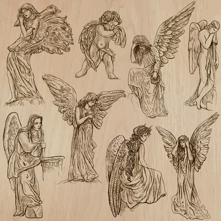 ANGELS. Collection of an hand drawn illustrations (vectors - pack no.2). Each drawing comprises of two or three layers of outlines, the colored background is isolated. Stock Vector - 37039156