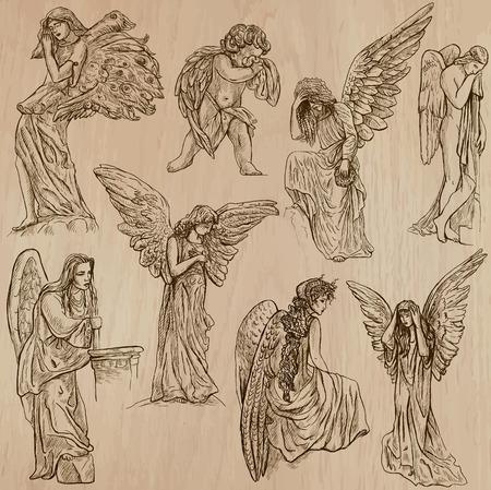 angel de la guarda: ÁNGELES. Colección de una dibujados a mano ilustraciones (vectores - paquete no.2). Cada uno dispone de dibujo de dos o tres capas de contornos, el color de fondo se aísla.
