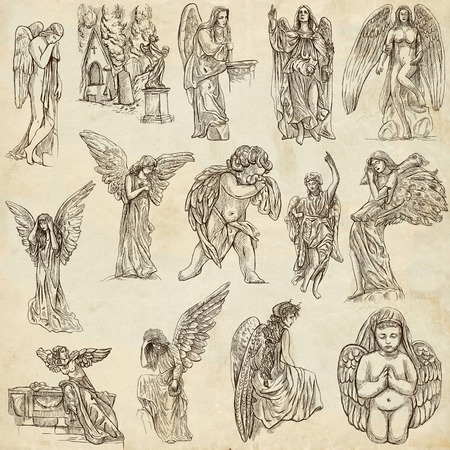 etymology: ANGELS - Collection of an hand drawn illustrations. Full sized hand drawn illustrations, Originals, drawing on old paper.