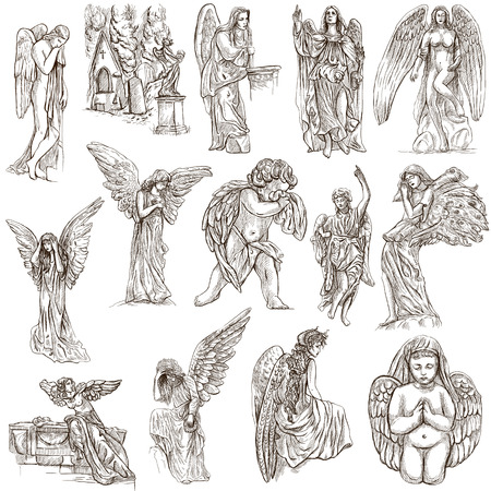 ANGELS - Collection of an hand drawn illustrations. Full sized hand drawn illustrations, Originals, drawing on white background.