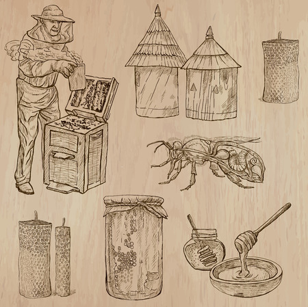 BEES, BEEKEEPING and HONEY. Collection of an hand drawn vector illustrations (pack no.9). Each drawing comprises of three or four layers of lines, the colored background is isolated. Illustration